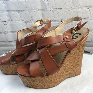GUESS Havana Brown Leather Platform Wedge Sandals